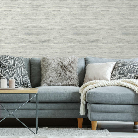 Faux Grasscloth Grey Peel & Stick Wallpaper - EonShoppee