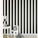 Awning Stripe Black Peel & Stick Wallpaper - EonShoppee