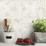 Tin Tile White Peel & Stick Wallpaper - EonShoppee