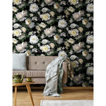 Black Photographic Floral Peel & Stick Wallpaper Mural - EonShoppee