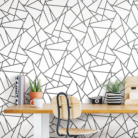 Black Fracture Peel & Stick Wallpaper - EonShoppee