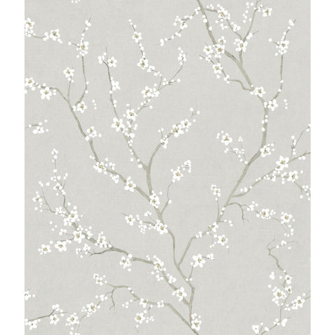 Grey Cherry Blossom Peel & Stick Wallpaper - EonShoppee