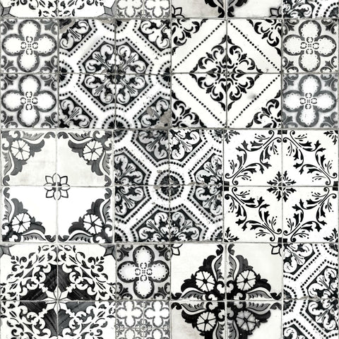 Black Mediterranean Tile Peel & Stick Wallpaper - EonShoppee