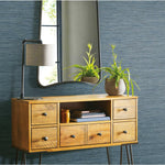 Faux Grasscloth Blue Peel & Stick Wallpaper - EonShoppee