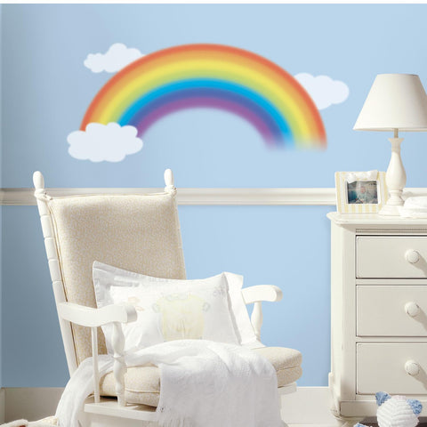 Over The Rainbow And Clouds Peel And Stick Giant Wall Decals - EonShoppee