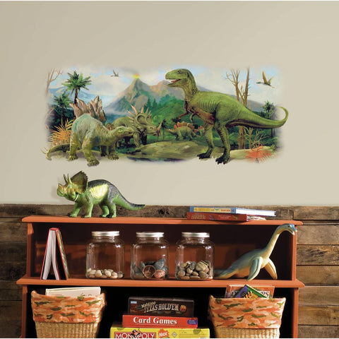 DINOSAURS SCENE BiG WALL DECAL Mural Kids Room Decor Stickers - EonShoppee