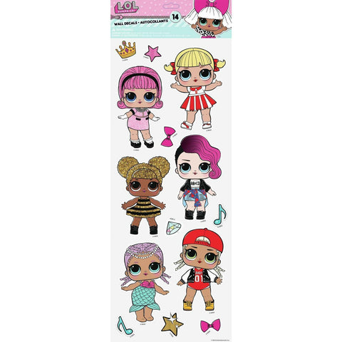 LOL Surprise Dolls Peel And Stick 14 Wall Decals Splash Queen Bee L.O.L. Stickers