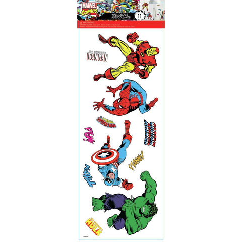 Marvel Classics Peel & Stick 11 Wall Decals Capt America Iron Man Spiderman Hulk Stickers - EonShoppee