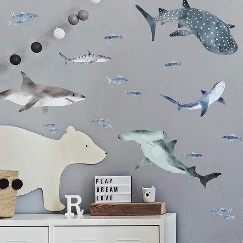 Sharks Peel And Stick Wall Decals - EonShoppee
