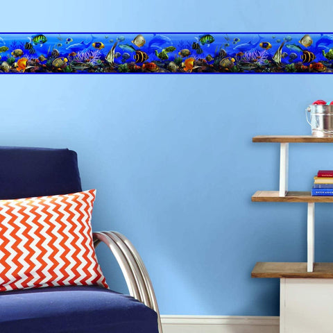 Under The Sea Wall Border Peel & Stick Wallpaper - Tropical Bathroom Decor Border - EonShoppee