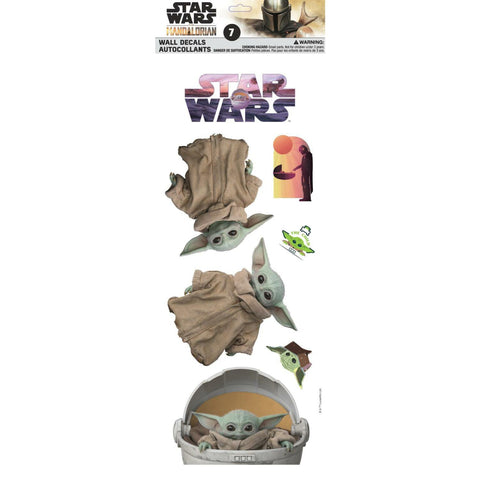 Disney Star Wars Mandalorian Child Baby Yoda 7 pc Wall Decals - EonShoppee