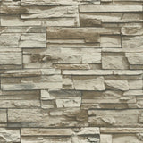 RoomMates Stacked Stone Grey/Brown Peel And Stick Wallpaper - EonShoppee