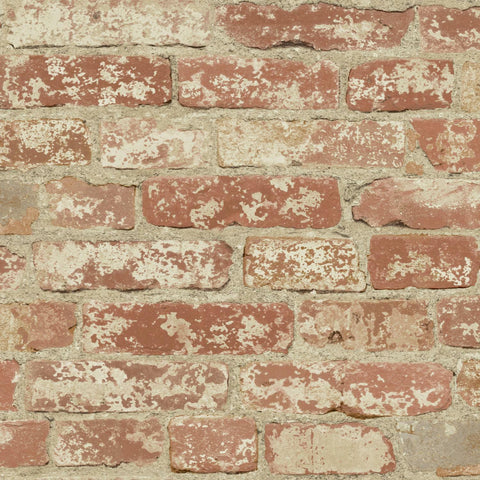 Stuccoed Red Brick Peel And Stick Wallpaper - EonShoppee