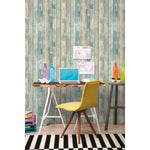 Distressed Wood Blue Peel And Stick Wallpaper - EonShoppee