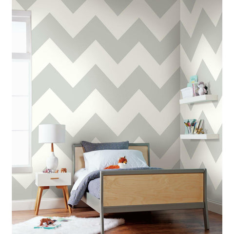 RoomMates Large Chevron Grey Peel & Stick Wallpaper - EonShoppee