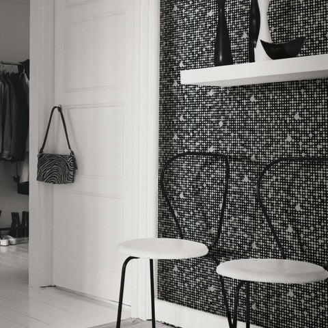 All Over Circles Black Peel & Stick Wallpaper - EonShoppee