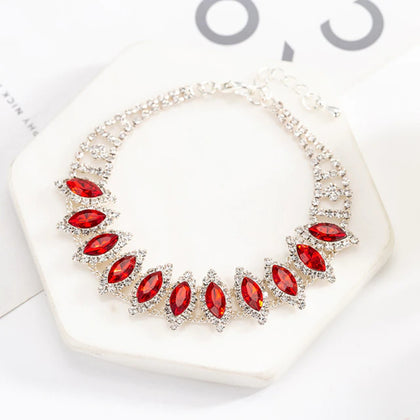 Stunning Silver Red Wedding Crystal Bracelet Bangle Fashion Accessory Bridal Jewelry Bracelet for Women