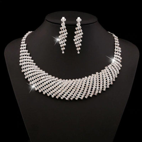 Luxurious Silver Austia Crystals Dazzling Bridal Wedding Fashion Jewelry Set For Women - EonShoppee