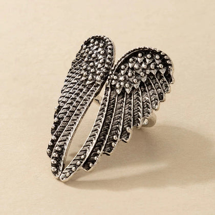 Silver Angel Wings Big Metal Ring for Women Vintage Charm Fashion Jewelry Finger Ring
