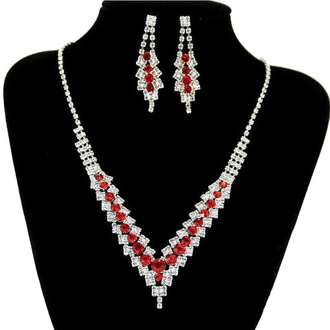Glamorous SILVER RED Stunning Crystal Necklace Earrings Fashion Jewelry Set Dress Jewelry