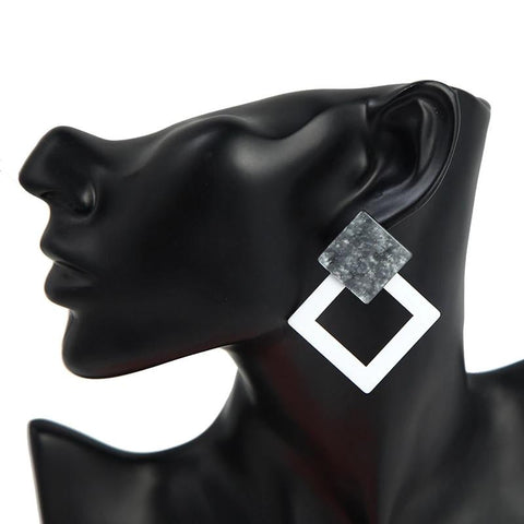 Geometric Black & White Square Trendy Earrings Women Fashion Jewelry - EonShoppee