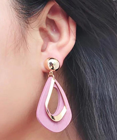 Modern Fashion Wooden Hanging Gold Droplets Pink Trendy Jewelry Earrings - EonShoppee