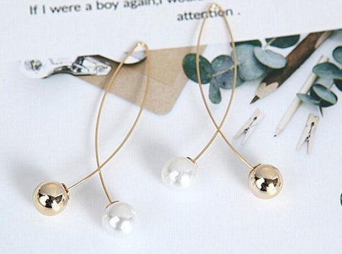 Stylish Pearl Cross Wire Fish Shape Golden Long Fashion Jewelry Earrings - EonShoppee