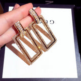 Gold Tone Geometric Rectangle Crystal Long Dangle Statement Fashion Jewelry Earrings - EonShoppee