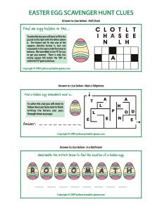 Easter Egg Scavenger Hunt Printable Games