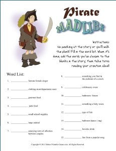 Pirate Mad Libs Game – Printable Games
