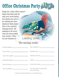 Office Xmas Mad Libs Printable Games