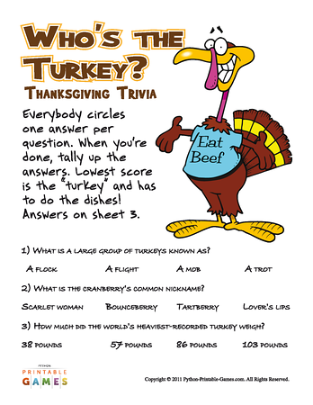 photograph relating to Thanksgiving Trivia Printable named Whos The Turkey? Trivia