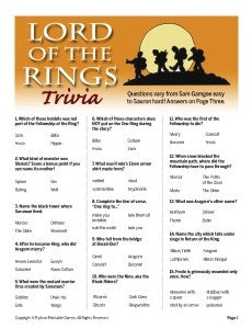 Lord Of The Rings Trivia Printable Games