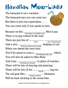 image about Printable Mad Lib identified as Moo-Luau Outrageous Libs
