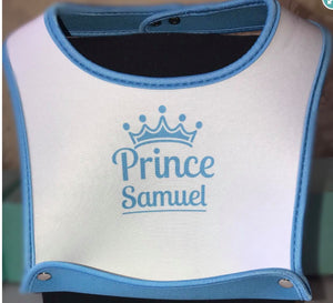 Personalised Prince Blue Baby Bib - On The Merch