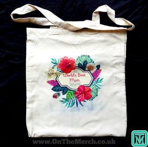 Personalised Floral Design Tote Bag - On The Merch