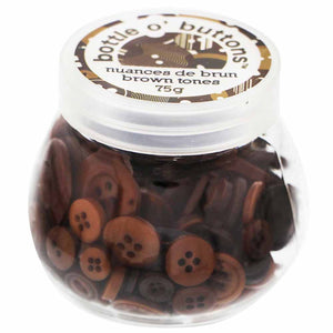 CRAFTING ESSENTIALS Bottle of Buttons - Brown Tones - 75g (2.6oz)
