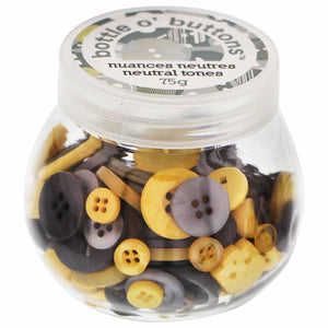 CRAFTING ESSENTIALS Bottle of Buttons - Neutral Tones - 75g (2.6oz)