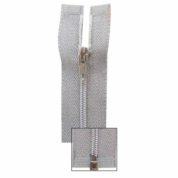 VIZZY Metallic One-Way Separating Zipper 35cm (14″) - Metallic Silver - 1701