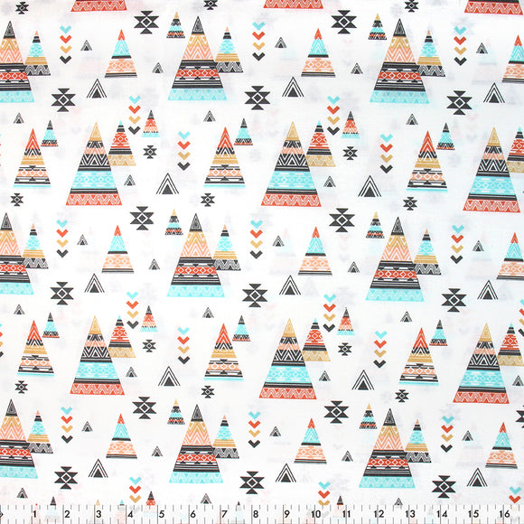 FABRIC CREATIONS 42″ x 8yd Cotton Fabric Bolt - White Desert Teepees