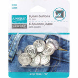 UNIQUE SEWING Jean Buttons No Sewing - Silver - 6 pcs. - 15mm (5⁄8″)