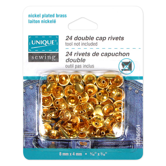 UNIQUE SEWING Double Cap Rivets - Gold - 8mm x 4mm (5/16″ x 3/16″) - 24 pcs