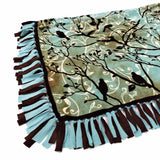 "FABRIC CREATIONS No Sew Throw - Brown & Turquoise - 109 x 139cm (43"" x 55"")"