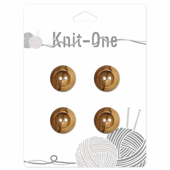 KNIT ONE 2 Hole Wood Button - 18mm (3⁄4″) - Natural