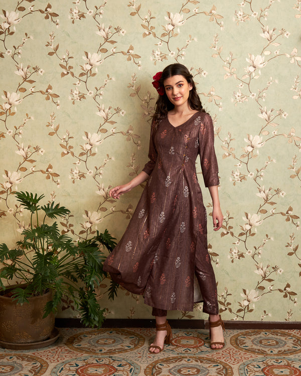Brown Printed Kurta