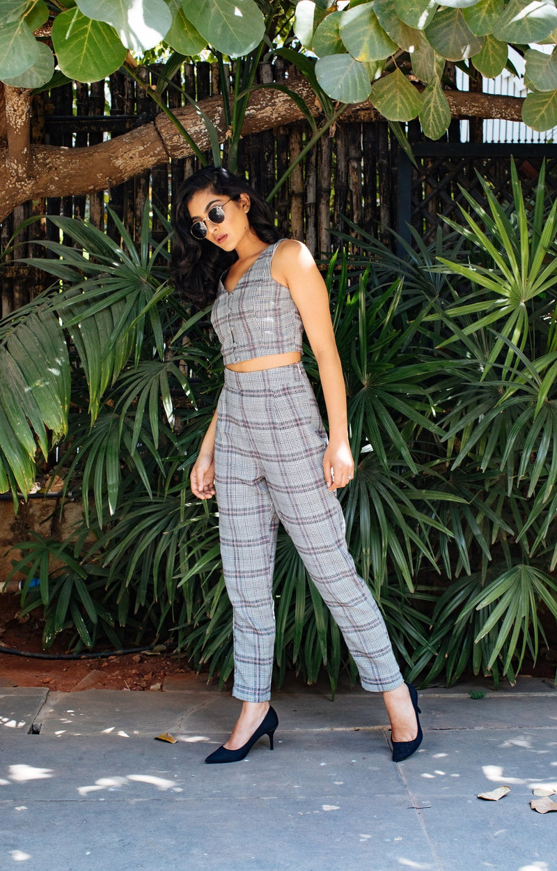 Checkered grey co-ord set