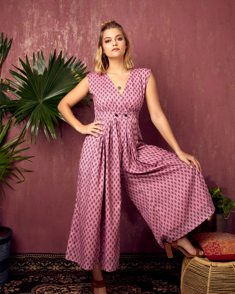 Pink Flared Jumpsuit