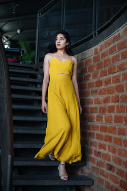 Spaghetti yellow jumpsuit