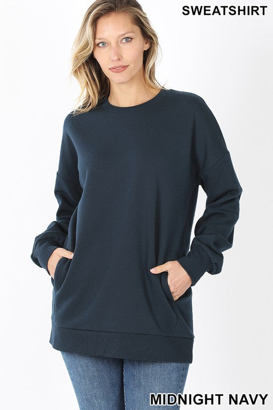 Olivia Sweatshirt with Side Pockets - Navy