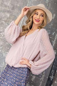 Surplice Lace Long Sleeve Top